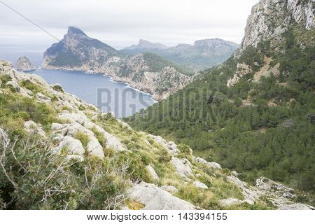 landscape, Cape formentor on the island of Majorca in Spain. Cliffs along the Mediterranean Sea