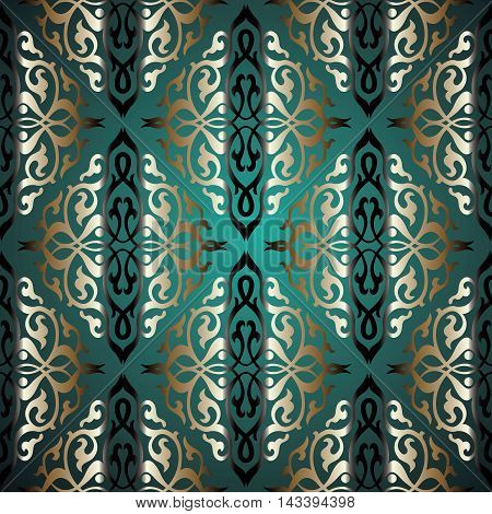Damask green elegant stylish vector seamless pattern background with vintage gold oriental ornaments in Eastern style. Luxury illustration and royal 3d decor elements with shadow and highlights. Endless elegant  texture.
