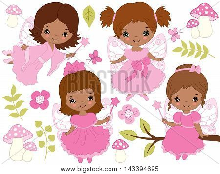 Vector African American little cute fairies with magic wand in pink dresses