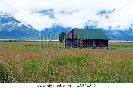 an old historic barn at Grand Tetons in Wisconsin