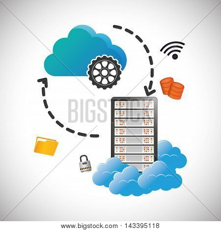 cloud computing gear padlock file web hosting data center security system technology icon set. Colorful and flat design. Vector illustration