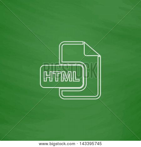 html Outline vector icon. Imitation draw with white chalk on green chalkboard. Flat Pictogram and School board background. Illustration symbol