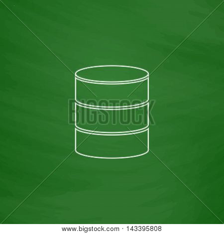 Database Outline vector icon. Imitation draw with white chalk on green chalkboard. Flat Pictogram and School board background. Illustration symbol