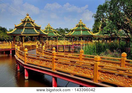 Samut Prakan Thailand - January 15 2013: Pavilion of the Enlightened at Ancient Siam heritage theme park