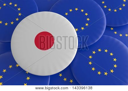 Partnership Japan EU: Japanese Flag And European Union Flag Badges 3d illustration
