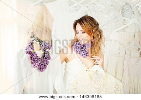 Beautiful Woman Chooses Fashion Summer white Dress