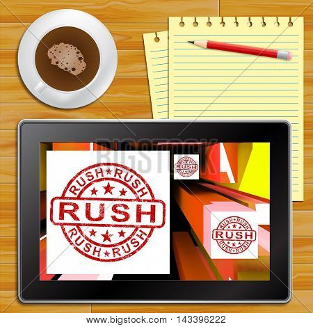 Rush Tablet Showing Express Delivery 3D Illustration