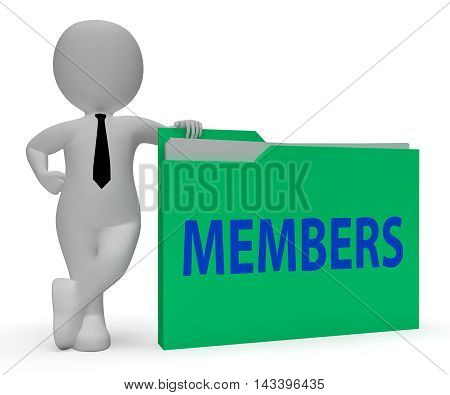 Members Folder Represents Join Up 3D Rendering
