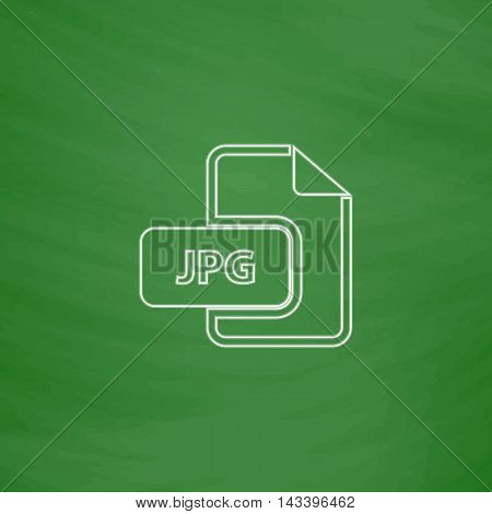 JPG Outline vector icon. Imitation draw with white chalk on green chalkboard. Flat Pictogram and School board background. Illustration symbol