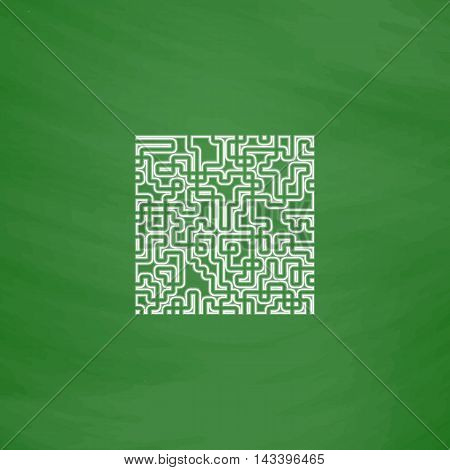 Labyrinth Outline vector icon. Imitation draw with white chalk on green chalkboard. Flat Pictogram and School board background. Illustration symbol