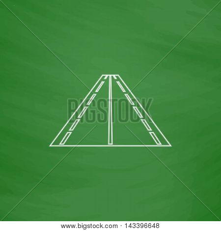 Road Outline vector icon. Imitation draw with white chalk on green chalkboard. Flat Pictogram and School board background. Illustration symbol