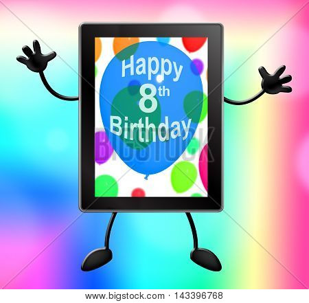Eighth Birthday Tablet Shows Party Celebration 3D Illustration