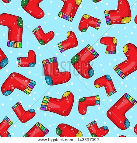 Seamless Background Pattern With Cartoon Socks