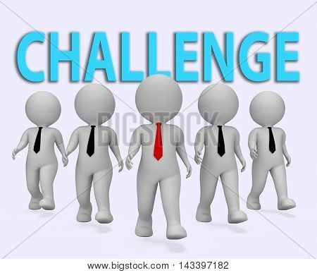 Challenge Businessmen Show Overcoming Difficulties 3D Rendering