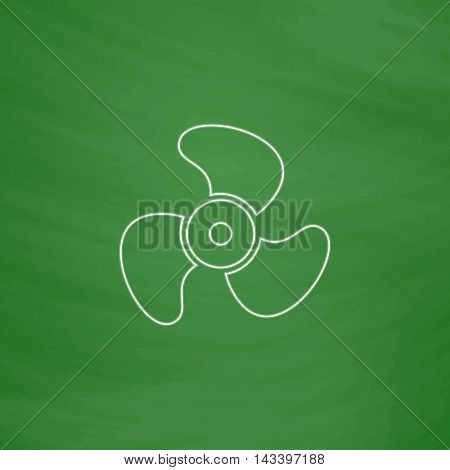 Propeller Outline vector icon. Imitation draw with white chalk on green chalkboard. Flat Pictogram and School board background. Illustration symbol