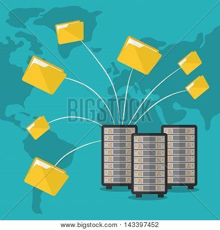 file folder document web hosting data center security system technology icon set. Colorful and flat design. Vector illustration