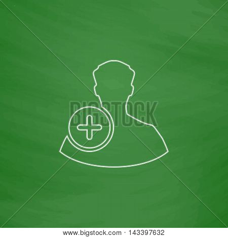 Add user Outline vector icon. Imitation draw with white chalk on green chalkboard. Flat Pictogram and School board background. Illustration symbol