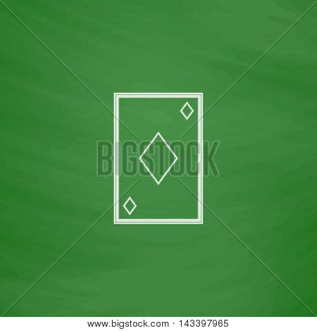 Diamonds card Outline vector icon. Imitation draw with white chalk on green chalkboard. Flat Pictogram and School board background. Illustration symbol