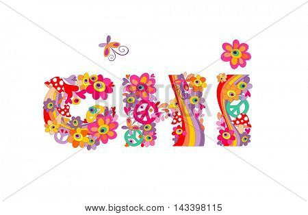 Hippie childish alphabet with colorful abstract flowers, rainbow and mushrooms. G, H, I