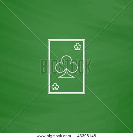Clubs card Outline vector icon. Imitation draw with white chalk on green chalkboard. Flat Pictogram and School board background. Illustration symbol