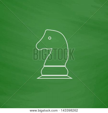 Chess knight Outline vector icon. Imitation draw with white chalk on green chalkboard. Flat Pictogram and School board background. Illustration symbol