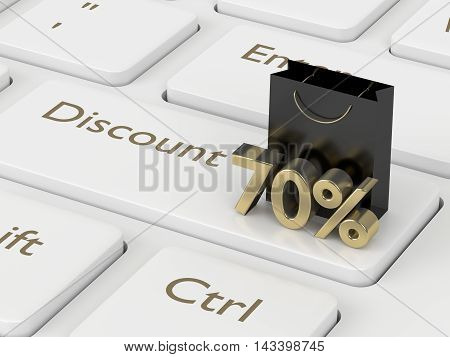 3D Rendering Of Keyboard, Shopping Bag And Discount
