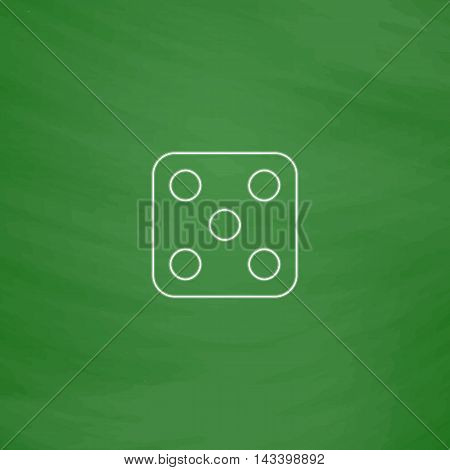 Dice 5 Outline vector icon. Imitation draw with white chalk on green chalkboard. Flat Pictogram and School board background. Illustration symbol