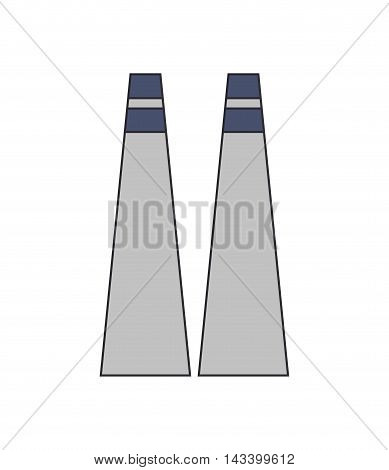 chimney building plant factory industry icon. Flat and Isolated design. Vector illustration