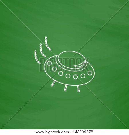 UFO Outline vector icon. Imitation draw with white chalk on green chalkboard. Flat Pictogram and School board background. Illustration symbol
