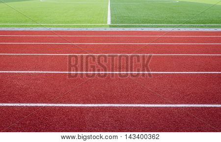 Red asphalt for runners placed on stadium