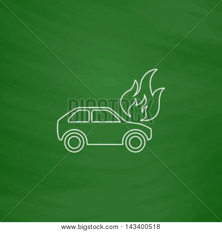 insurance Outline vector icon. Imitation draw with white chalk on green chalkboard. Flat Pictogram and School board background. Illustration symbol