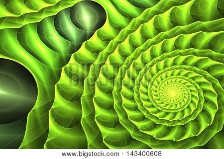Abstract green nature endless illusion geometrical spiral