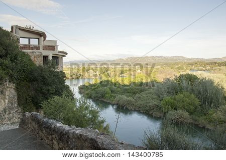 Views ebro Miravet in Tarragona, Catalonia, Spain.
