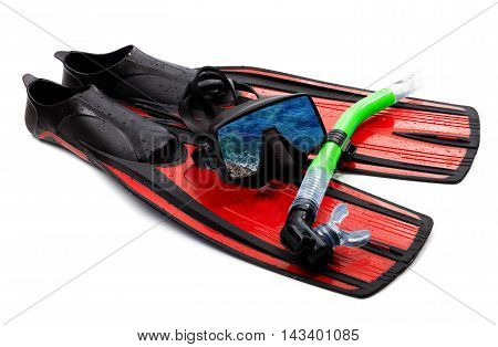 Snorkel flippers and mask with reflection of blue sea. Isolated on white background.