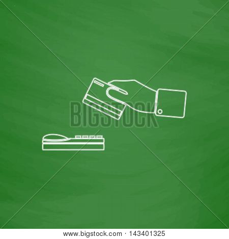 payment Outline vector icon. Imitation draw with white chalk on green chalkboard. Flat Pictogram and School board background. Illustration symbol