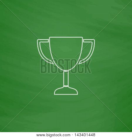 Trophy Outline vector icon. Imitation draw with white chalk on green chalkboard. Flat Pictogram and School board background. Illustration symbol
