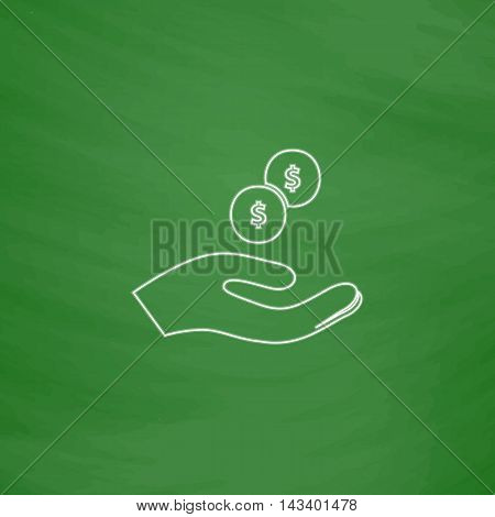 beggar Outline vector icon. Imitation draw with white chalk on green chalkboard. Flat Pictogram and School board background. Illustration symbol