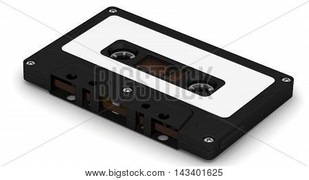 Black audio cassette lying on white surface. Isolated. 3D Illustration