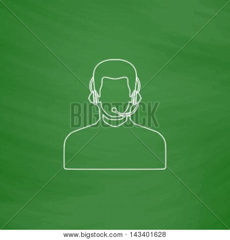 Operator Outline vector icon. Imitation draw with white chalk on green chalkboard. Flat Pictogram and School board background. Illustration symbol
