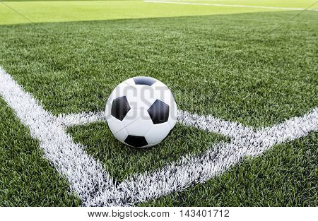 Soccer Football green field conner with white line