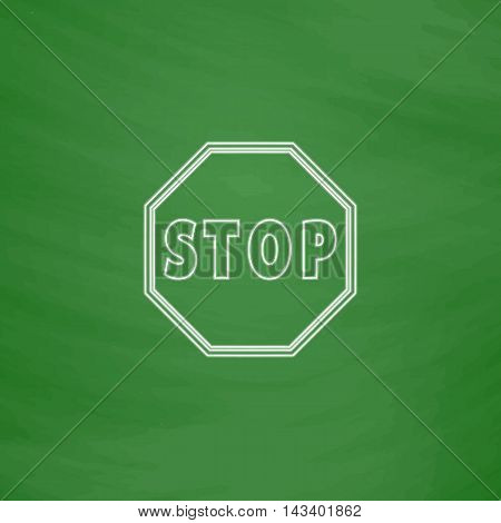 Vector Stop stroke sign Icon Outline vector icon. Imitation draw with white chalk on green chalkboard. Flat Pictogram and School board background. Illustration symbol