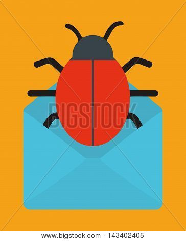 envelope bug cyber security system technology icon. Colorful and flat design. Vector illustration