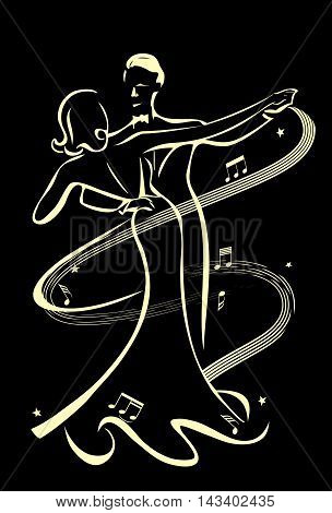 Dancing couple line drawing on a black background