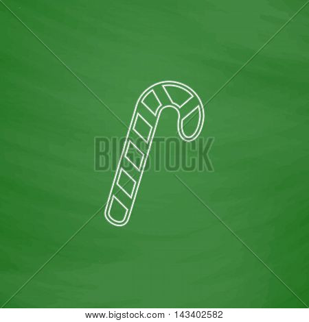 Candy cane Outline vector icon. Imitation draw with white chalk on green chalkboard. Flat Pictogram and School board background. Illustration symbol