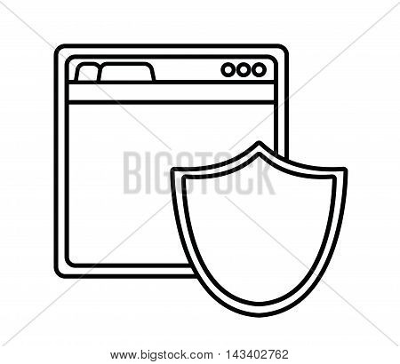 shield site cyber security system technology icon. Silhouette isolated and flat design. Vector illustration