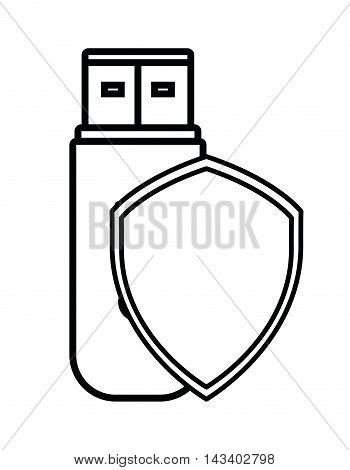 shield usb cyber security system technology icon. Silhouette isolated and flat design. Vector illustration