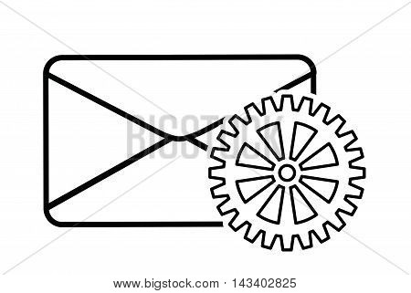 envelope gear cyber security system technology icon. Silhouette isolated and flat design. Vector illustration