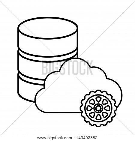 cloud gear hosting cyber security system technology icon. Silhouette isolated and flat design. Vector illustration
