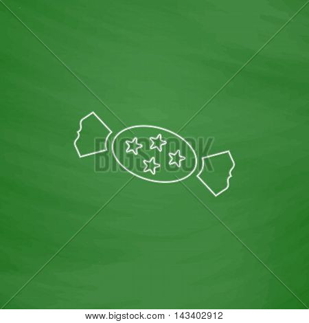 bonbon Outline vector icon. Imitation draw with white chalk on green chalkboard. Flat Pictogram and School board background. Illustration symbol