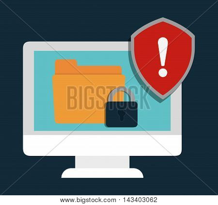 computer file padlock cyber security system technology icon. Colorful and flat design. Vector illustration